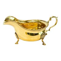 Adie Brothers England Gilt Silver Sauce Boat, 1955, Gadroon Rim