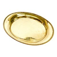 Tiffany & Co. Gilt Sterling Silver Oval 8 inch Tray, 1964. Gadroon Rim