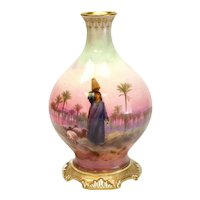 Royal Doulton Hand Painted Porcelain Vase, Shepherd in Desert, circa 1910 Signed