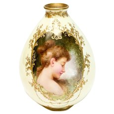 Royal Doulton Hand Painted Porcelain Vase of a Beauty by Boullemier, circa 1900