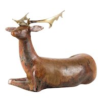 Loet Vanderveen (Dutch, 1921-2015) Ceramic and Bronze Deer Sculpture, Signed