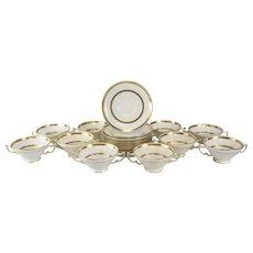 10 Minton Tiffany & Co. Porcelain Soup Bouillon & Saucers Gold Band #G8338, circa 1900