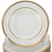 Twelve Minton Tiffany & Co. Porcelain Rimmed Soup Bowl, Gold Band, #G8338, circa 1900