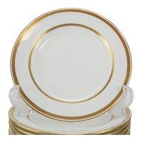 11 Minton Tiffany & Co. Porcelain 7.75 inch Plates, Gold Band #G8338, c1900