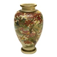Japanese Satsuma Hand Painted Porcelain Vase, Likely Meiji Period