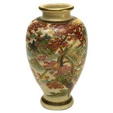 Japanese Satsuma Hand Painted Porcelain Vase, Likely Meiji Period