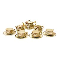 Japanese Satsuma Porcelain Tea Service Set for 4, Likely Meiji Period