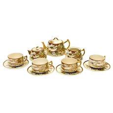 Japanese Satsuma Porcelain Tea Service Set for 4, Likely Meiji Period
