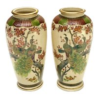 Pair Japanese Satsuma Hand Painted Porcelain Vases, Likely Meiji Period