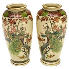 Pair Japanese Satsuma Hand Painted Porcelain Vases, Likely Meiji Period