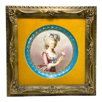 Vienna Austria Hand Painted Framed Charger of Marie Antoinette, circa 1900
