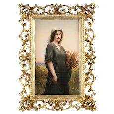 Large KPM Porcelain Portrait Plaque of Ruth Signed E. Volk, 19th Century