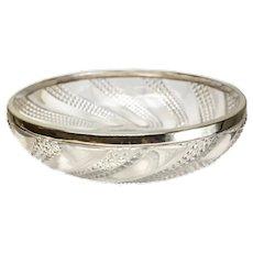 Large Baccarat Depose Cut Glass & Silverplate Centerpiece Bowl, Swirls
