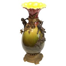 Large French Glazed Ceramic and Gilt Bronze Footed Vase, Late 19th Century