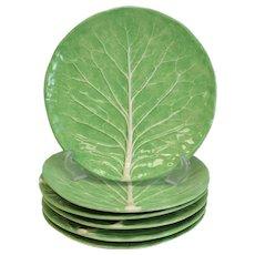 6 Dodie Thayer Lettuce Leaf Ware Porcelain Dinner Plates, Hand Crafted Earthenware