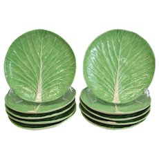 10 Dodie Thayer Lettuce Leaf Ware Porcelain Luncheon Plates, Hand Crafted Earthenware