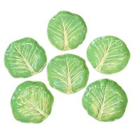 6 Dodie Thayer Au Bon Gout Lettuce Leaf Ware Porcelain Butter Pats , Hand Crafted Earthenware