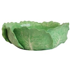 Dodie Thayer Lettuce Leaf Ware Porcelain Centerpiece Bowl, Hand Crafted Earthenware