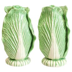 Dodie Thayer Lettuce Leaf Ware Porcelain Salt & Pepper Shakers, Hand Crafted Earthenware