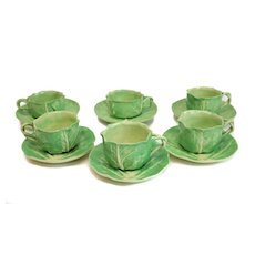 6 Dodie Thayer Lettuce Leaf Ware Porcelain Large Tea Cups & Saucers, Hand Crafted Earthenware