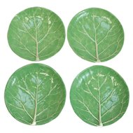 4 Dodie Thayer Lettuce Leaf Ware Porcelain Bread & Butter Plates, Hand Crafted Earthenware