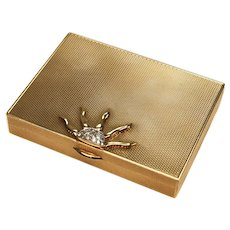 Cartier 14 Karat Yellow Gold & .75 Carat Diamond Compact Powder Box, circa 1940