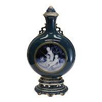 Minton Porcelain Pate-Sur-Pate Lidded Bottle Flask Vase Lawrence Birks, 1881