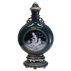 Minton Porcelain Pate-Sur-Pate Lidded Bottle Flask Vase Lawrence Birks, 1881