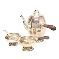 3 Piece Allan Adler Sterling Silver Modernist Coffee Set, circa 1950