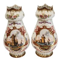 Pair Dresden Hand Painted Porcelain Vases, circa 1900. Seascape Harbor Scenes