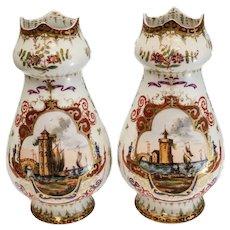 Pair Dresden Hand Painted Porcelain Vases, circa 1900. Seascape Harbor Scenes