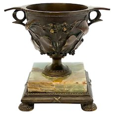 Continental Patinated Bronze Kantharos Cup on Marble Base, Early 20th Century