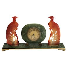 Yamanaka Art Deco Carved Jade, Agate, and Gilt Silver Desktop Clock, circa 1920
