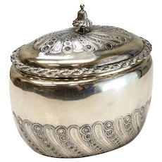Odiot Paris French Silver Lidded Tea Caddy Box #149, 19th C. Gilt Interior