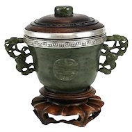 Yamanaka Sterling Silver Jade & Wood Double Handled Inkwell, circa 1920