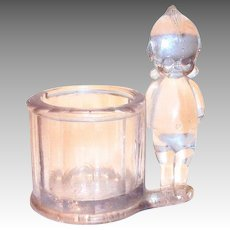 Lightly Purple Glass Kewpie Candy Container