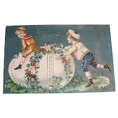 Easter Greetings Postcard (Boys Playing Leap Frog Over Egg)