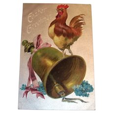 Easter Greetings Postcard (Rooster Crowing On Top Of Bell)