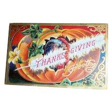 Thanksgiving Greetings Postcard (Turkey Peeking Out of Pumpkin)