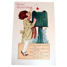 To My Valentine Postcard (Girl Mailing A Valentine)
