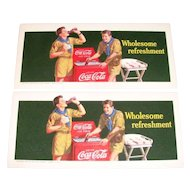 "1942 Coca Cola Boy Scouts & Bottle Cooler ""Wholesome Refreshment"" Cardboard Blotter - Marked"
