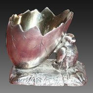 1890's Silver Plated Tiny Chick & Half Hatched Egg Salt Cellar - Marked