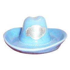 1936 Texas Centennial Exposition Delphite Blue Cowboy Hat Souvenir - Marked