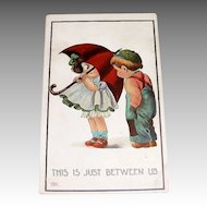 "Vintage Children: 1912 ""This Is Just Between Us"" Postcard"