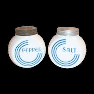 Anchor Hocking: Vitrock Blue Circle Salt & Pepper Set