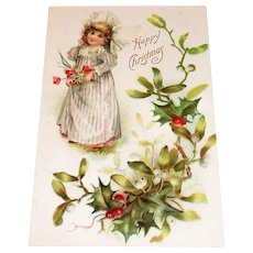 Happy Christmas: Little Girl With Flowers & Holly Postcard