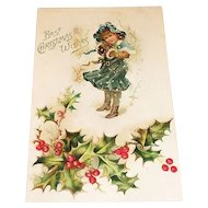 Best Christmas Wishes Postcard (Girl Standing In Snow)