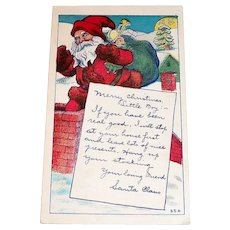 Vintage Santa Claus Going Down Chimney Postcard