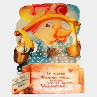Vintage If You're Wishing Mechanical Duck Valentine