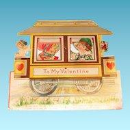 "Large Vintage ""To My Valentine"" Trolley Mechanical Valentine"